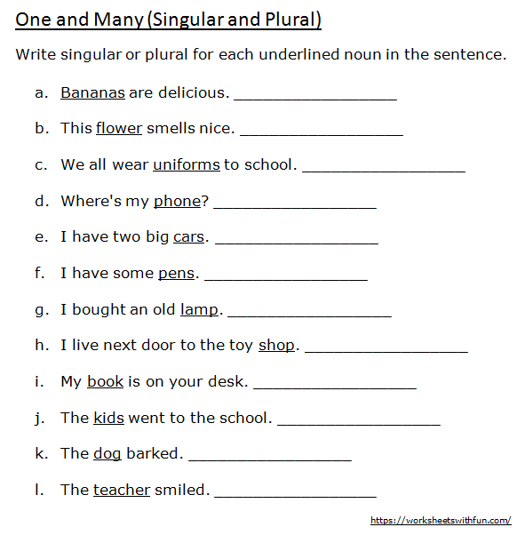 English - Class 1: One And Many (Write Singular Or Plural For Each  Underlined Noun) - Worksheet 5