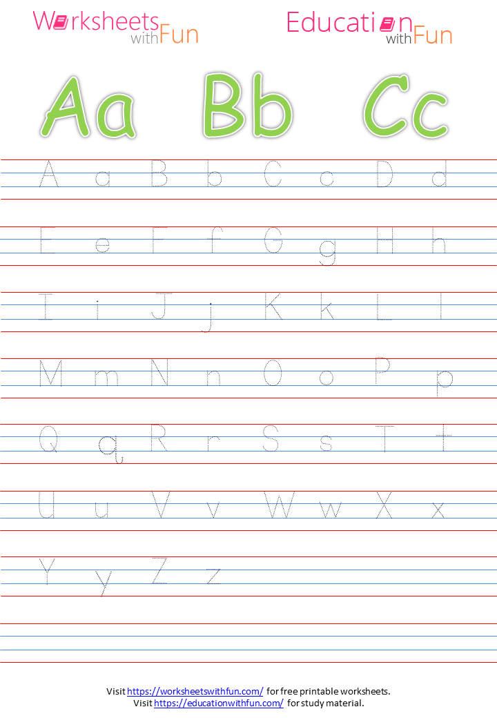 English - Preschool: Capital And Small Letters Tracing