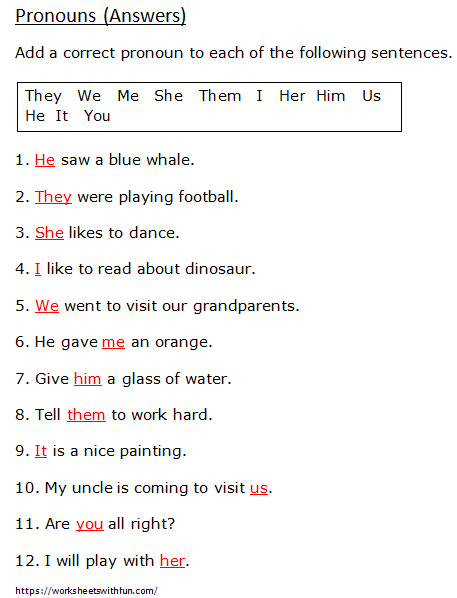 English Class 1 Pronouns Choose The Correct Pronoun Worksheet 1 Answers