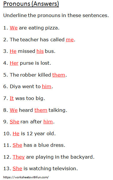 English Class 1 Pronouns Underline The Pronouns Worksheet 6 Answers