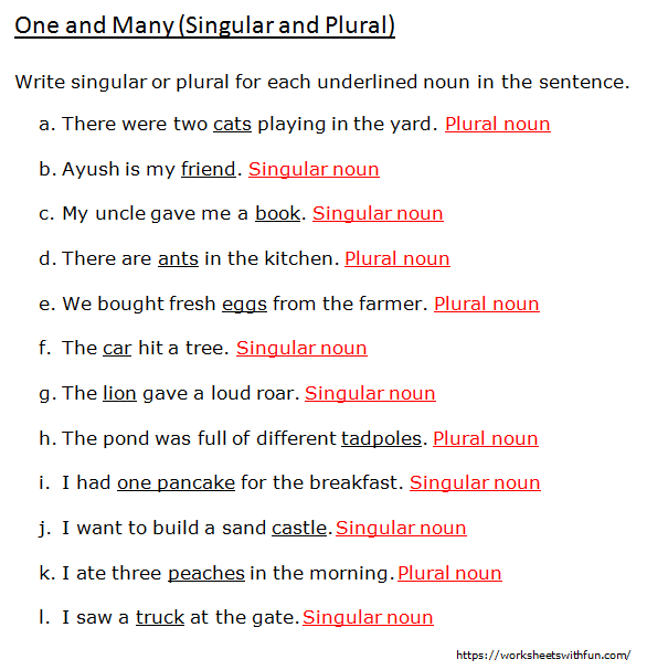 English - Class 1: One And Many (Write Singular Or Plural For Each  Underlined Noun) - Worksheet 6 (Answers)