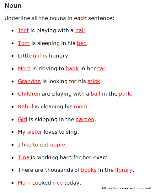 English Class 1 Noun Underline All The Nouns In Each Sentence Worksheet 5 Answers