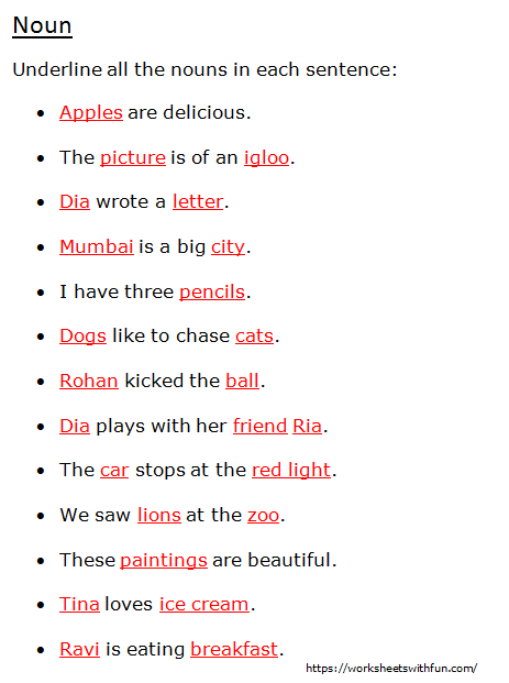 English Class 1 Noun Underline All The Nouns In Each Sentence Worksheet 6 Answers