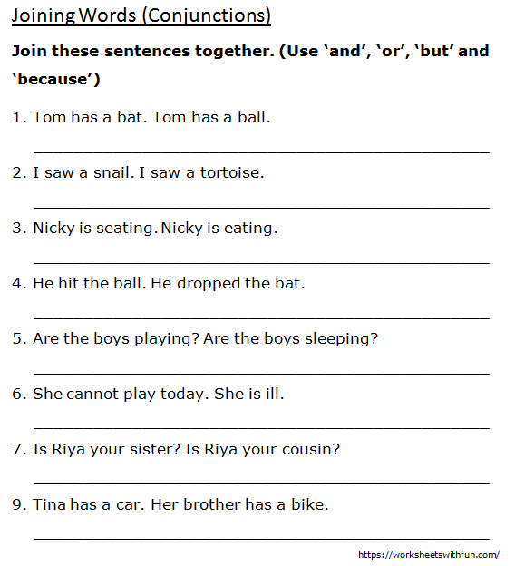 English - Class 1: Joining Words (Join Sentences Together) - Worksheet 2