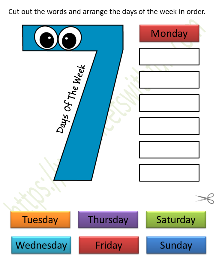 Mathematics - Preschool: Days Of The Week Worksheet 3