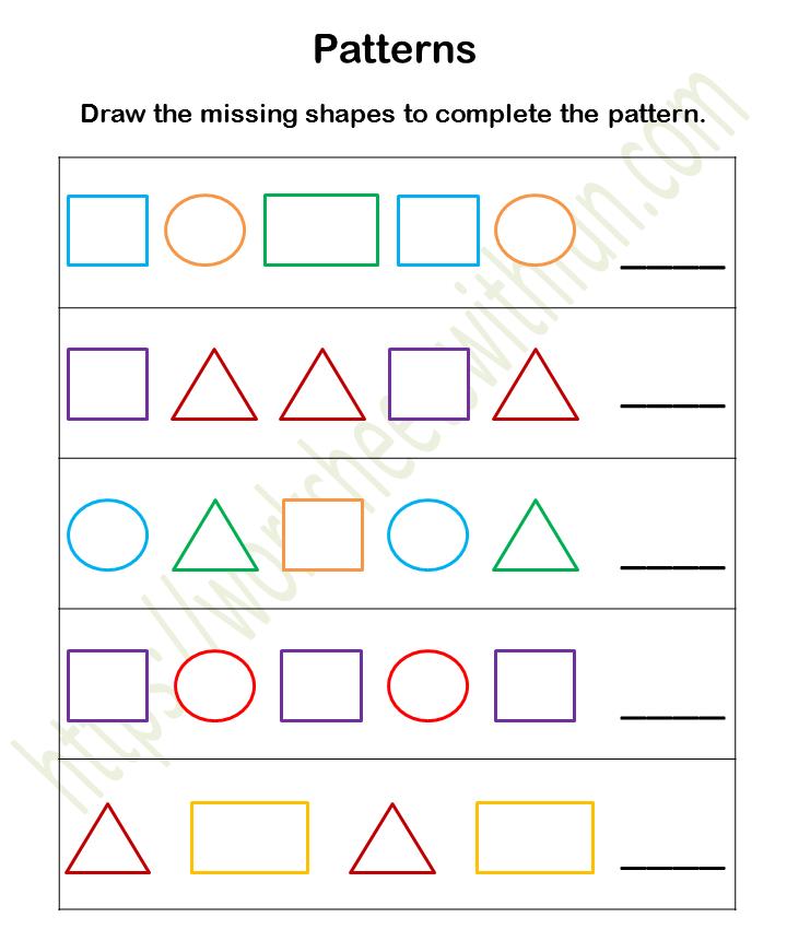 Mathematics - Preschool: Patterns Worksheet 1 (Color)