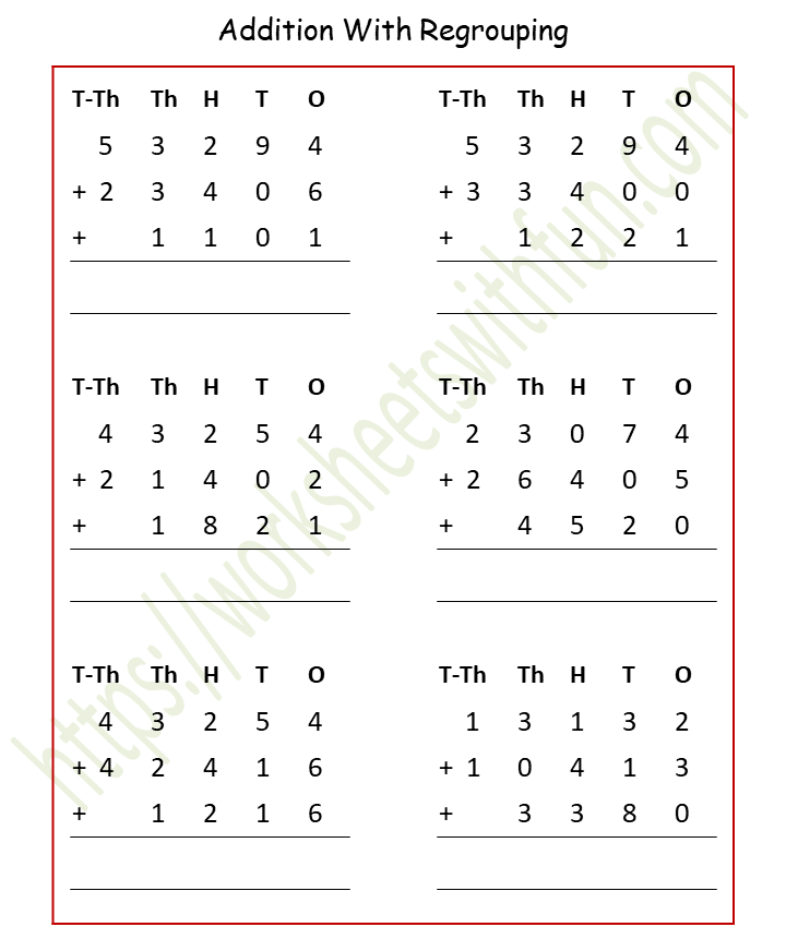 Maths - Class 4: Addition (Of 3 Numbers) With Regrouping Worksheet 9