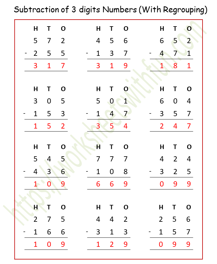 Maths - Class 4: Subtraction Of 3 Digits Numbers (With Regrouping) Worksheet  1 (Answer)