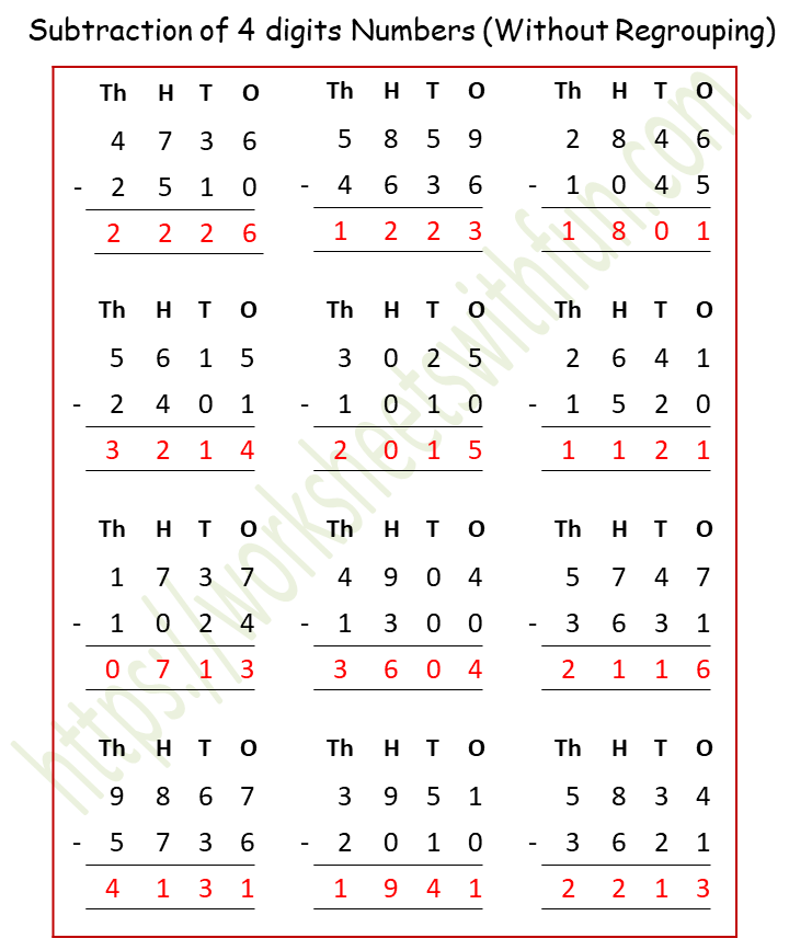 Course Maths Class 4 Topic Subtraction Worksheets