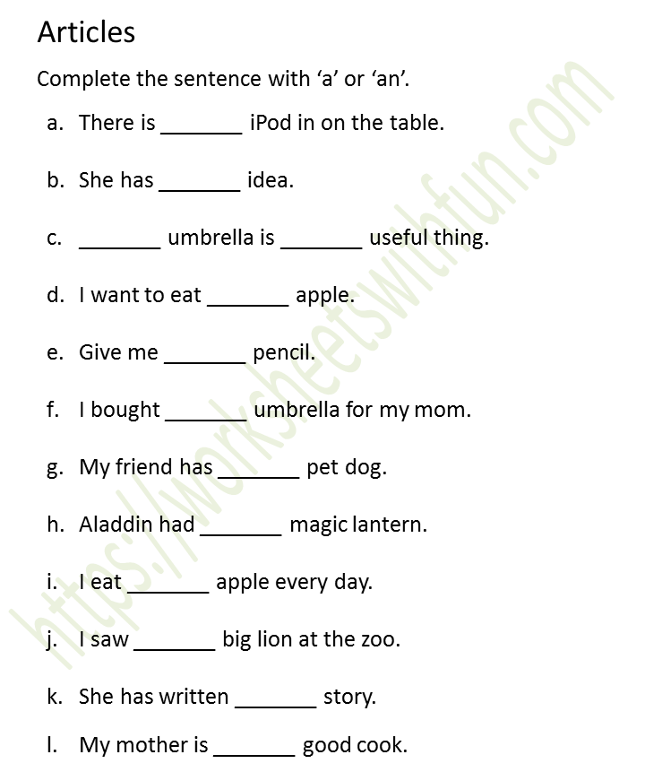 English - Class 1: Articles (Complete The Sentence With 'a' Or 'an') -  Worksheet 8